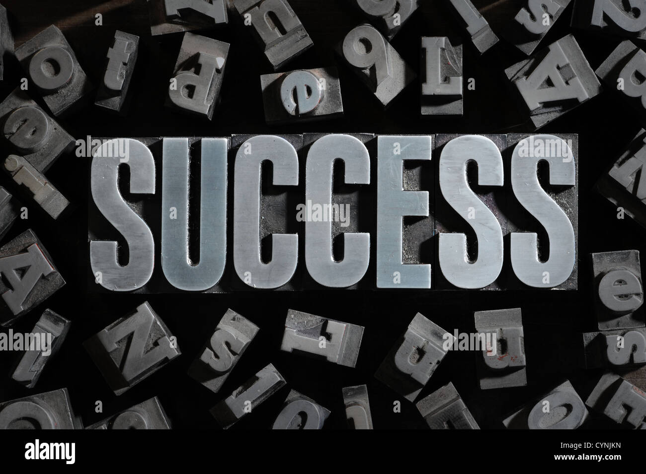 Old Metallic Letters:Success concept related words - Stock Image