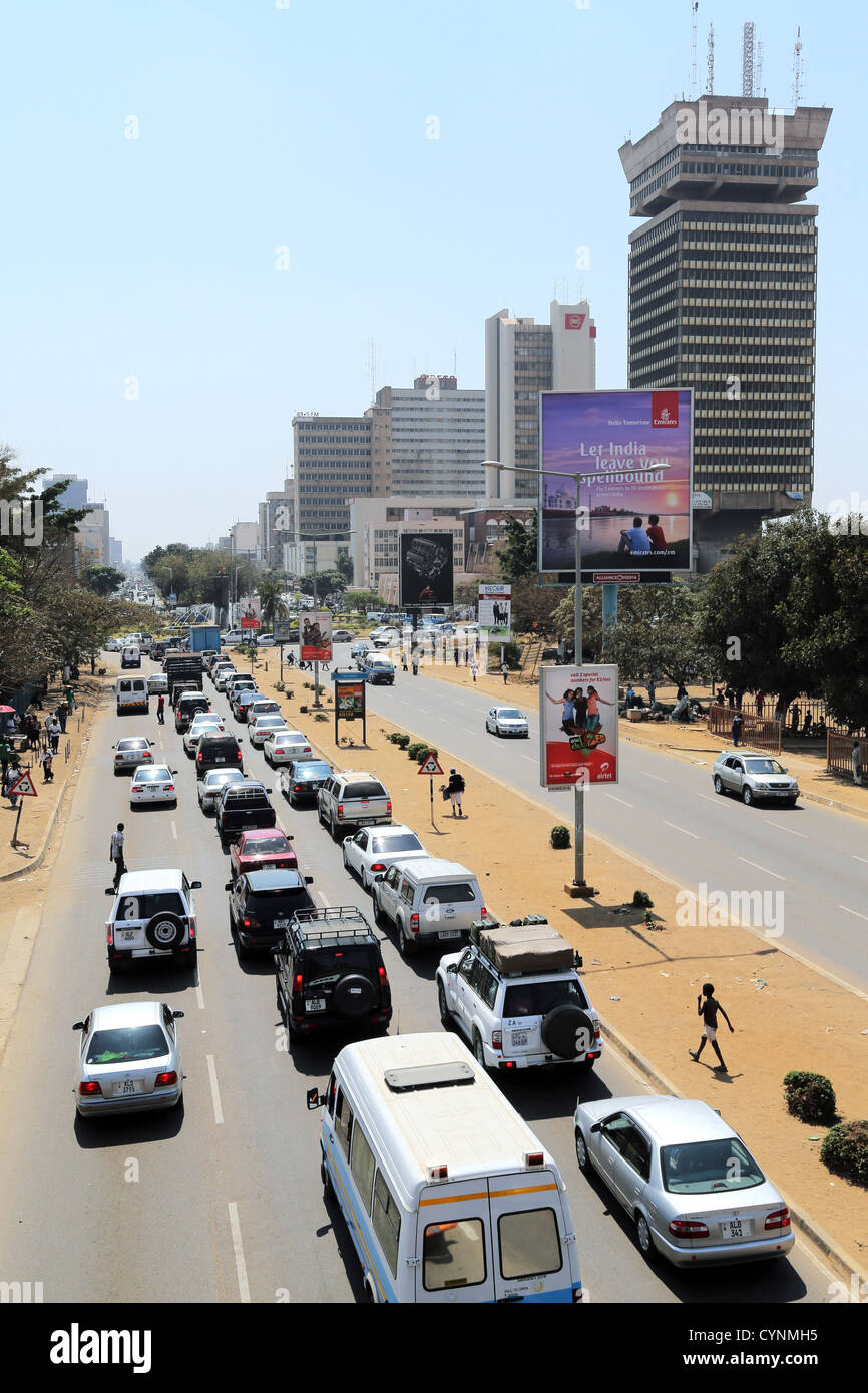 Cairo road, downtown Lusaka, capital of Zambia. Findeco house at right - Stock Image