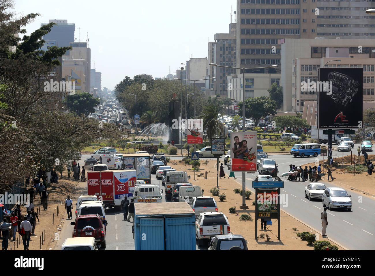 Cairo road, downtown Lusaka, capital of Zambia. - Stock Image