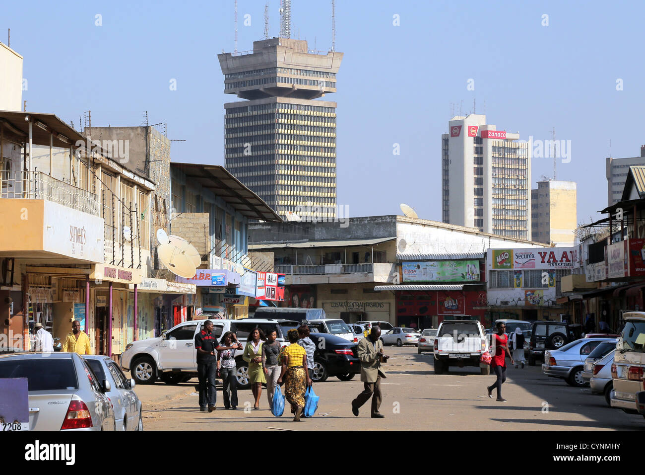 Downtown Lusaka, capital of Zambia. Findeco house at middle Stock Photo