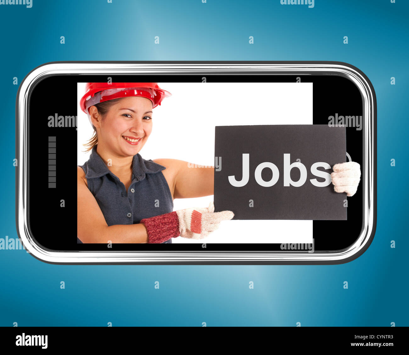 Jobs Sign With Construction Worker Showing Careers Online - Stock Image