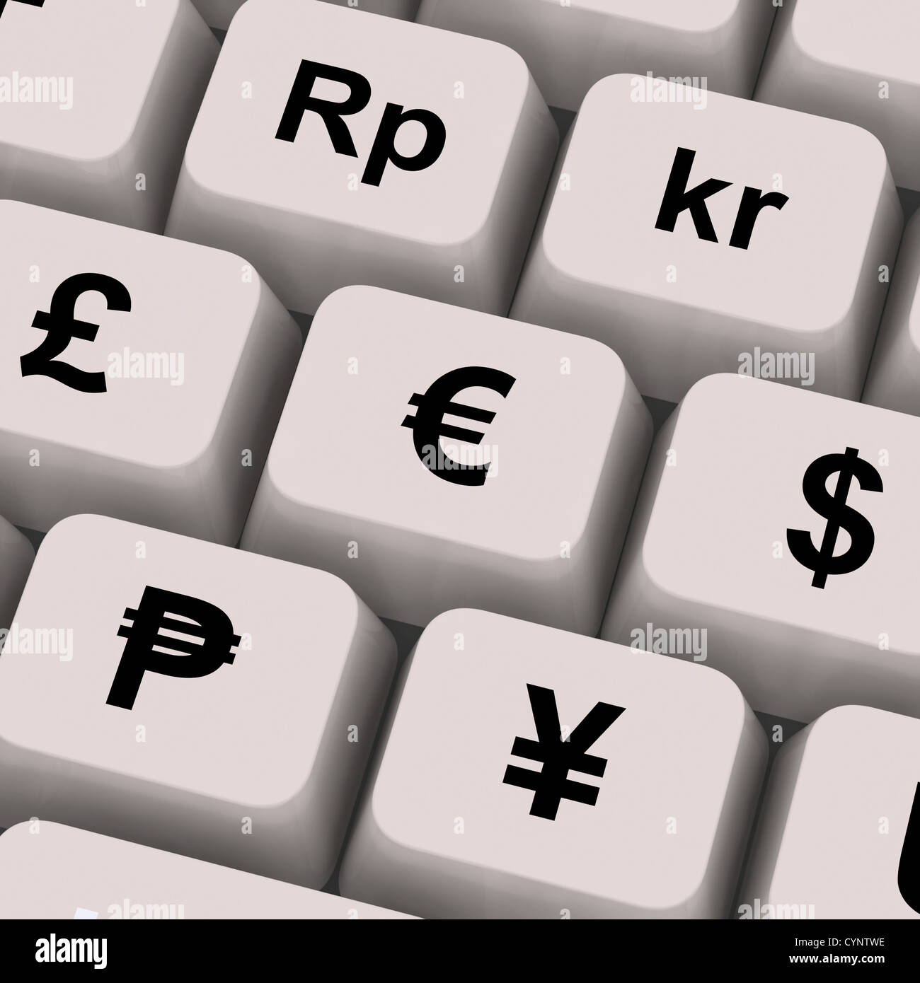 Currency Symbols On Computer Keys Showing Exchange Rates And Finance