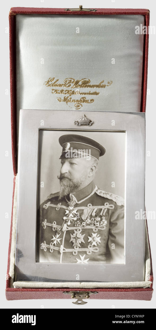 Tsar Ferdinand of Bulgaria (1861 - 1948) - dedication frame, for a photograph with a picture of the Tsar. Smooth Stock Photo