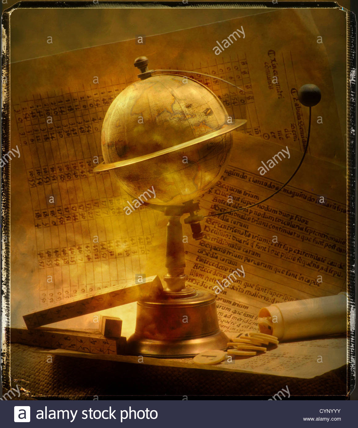 Antique globe with moon on stand - Stock Image