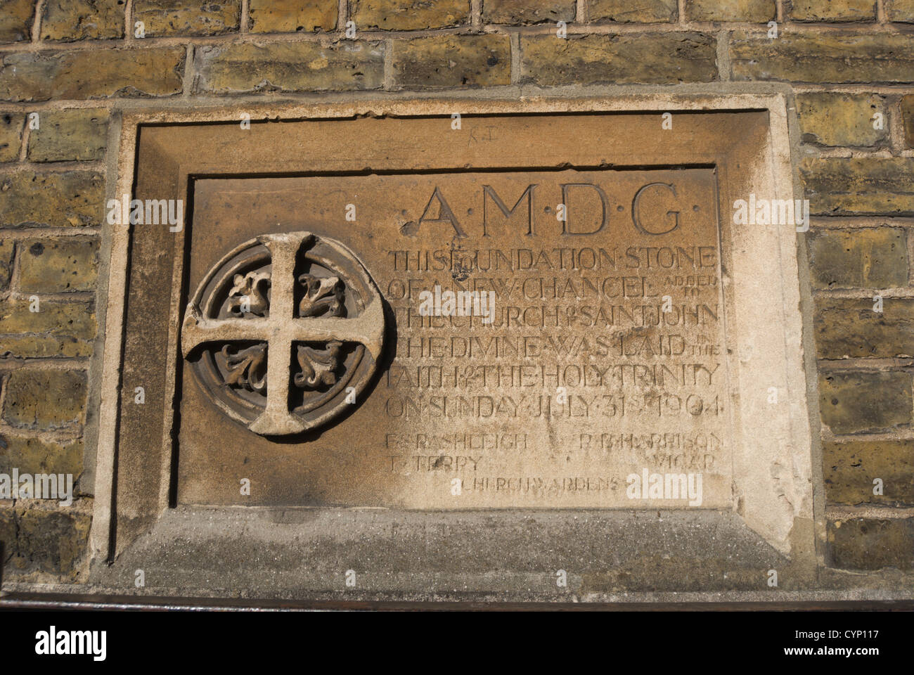 1904 foundation stone marking a new chancel at the church of st john the divine, richmond, surrey, england - Stock Image