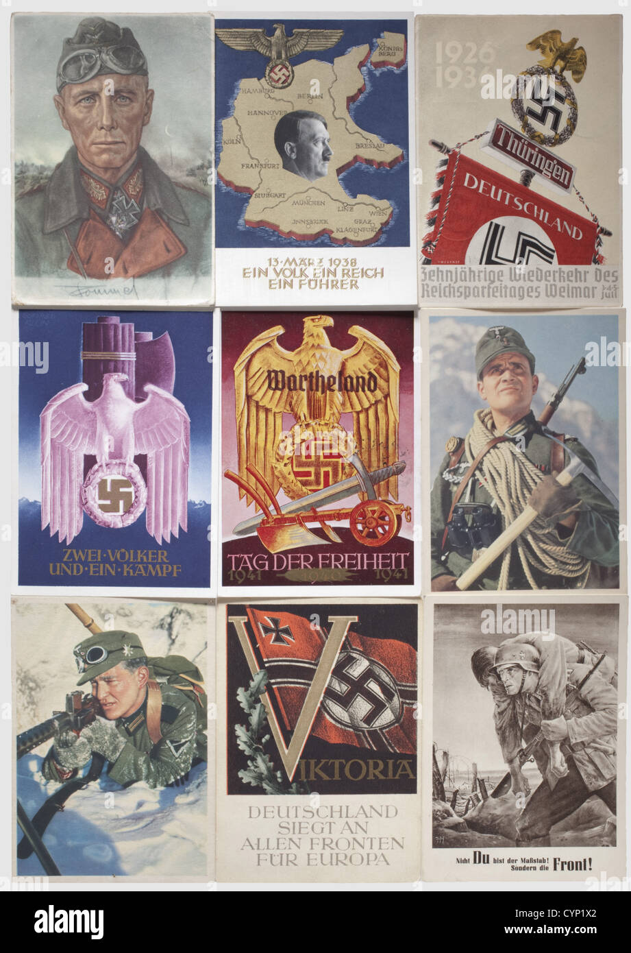 Ca. 240 propaganda postcards on Adolf Hitler, the NSDAP and the War, Interesting postcards: Hitler in the West, - Stock Image