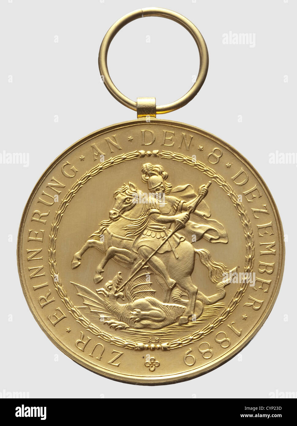 A Golden Medal of St. George, instituted by Prince Regent Leopold on 15 December 1889 in commemoration of the high - Stock Image