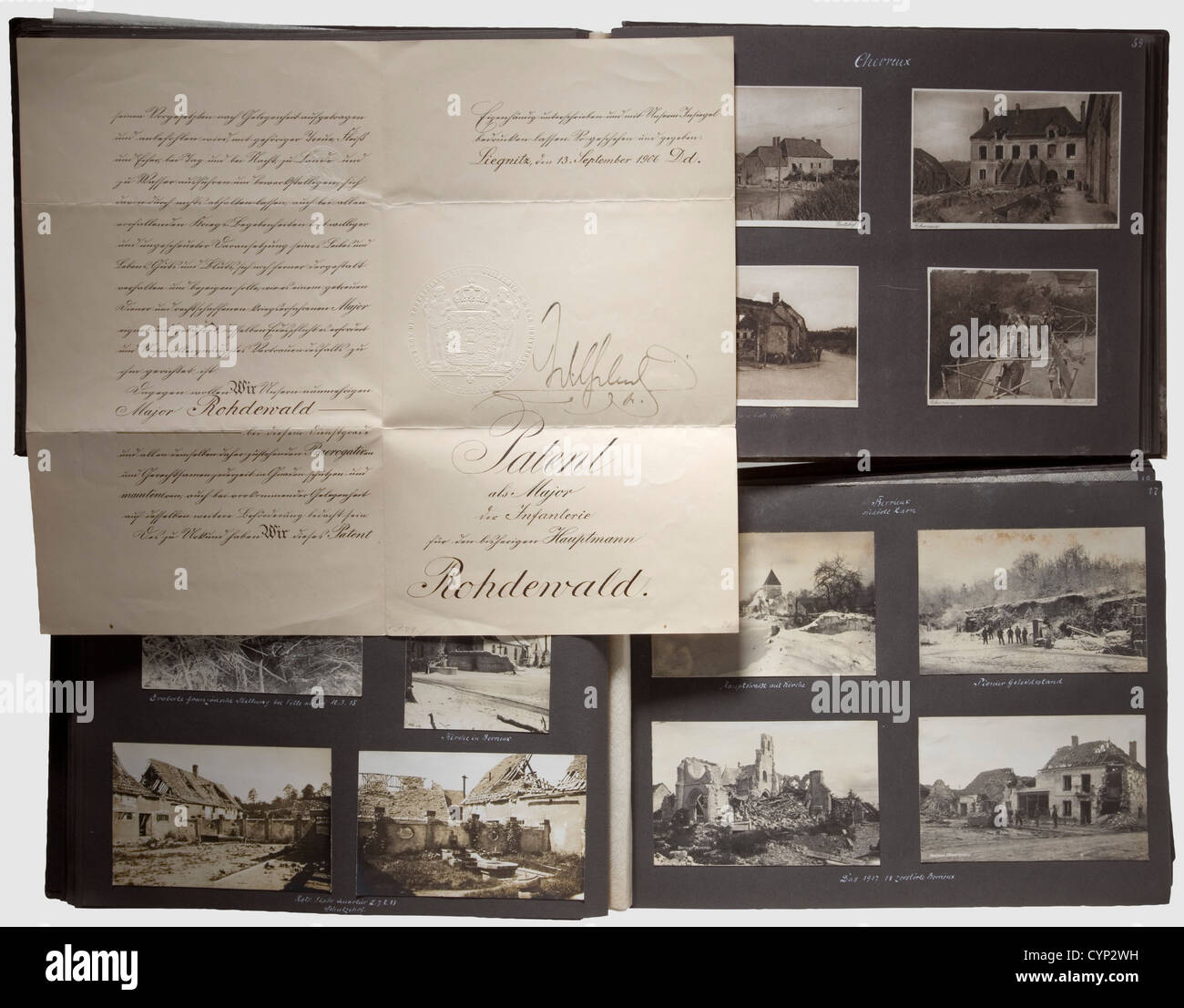 Photo albums and documents, of Generalmajor (Brigadier) Eduard Rohdenwald. Patents to Major in 1906 and Oberstleutnant - Stock Image