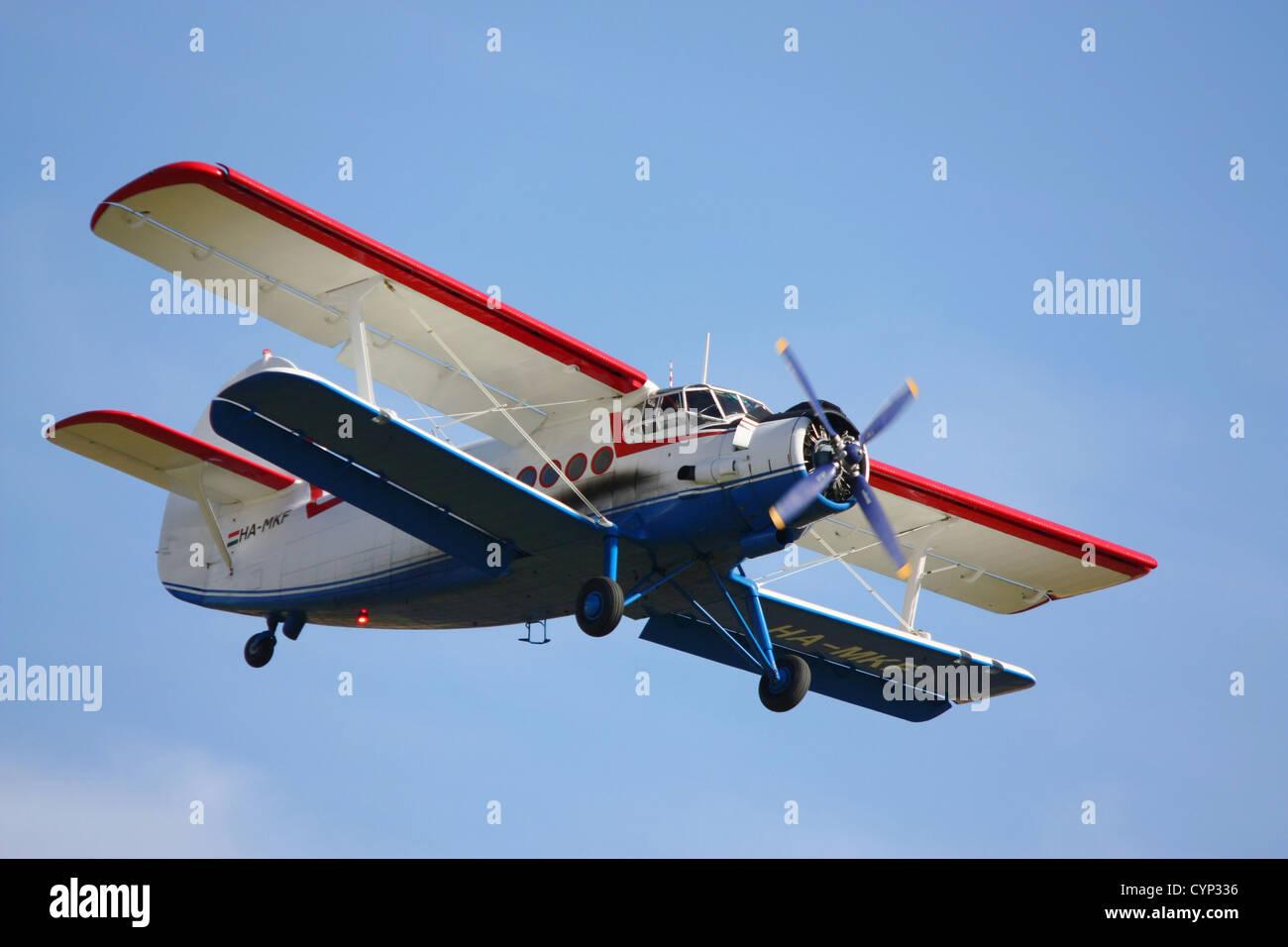 antonov an-2 aircraft flying at duxford 2012 - Stock Image