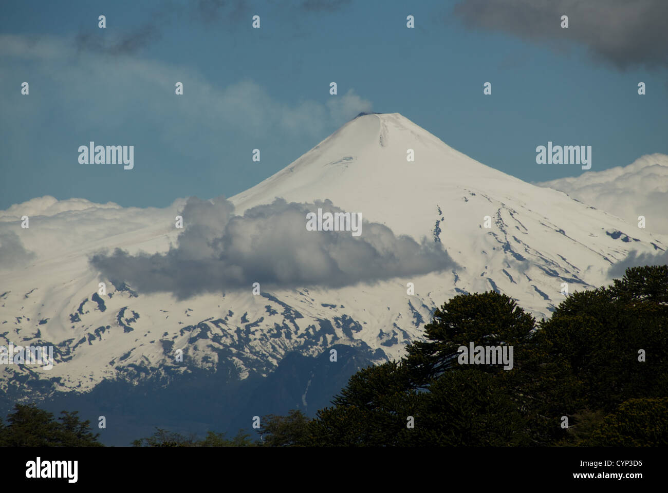 Volcan Villarrica and fumarole, Patagonia, Chile - Stock Image