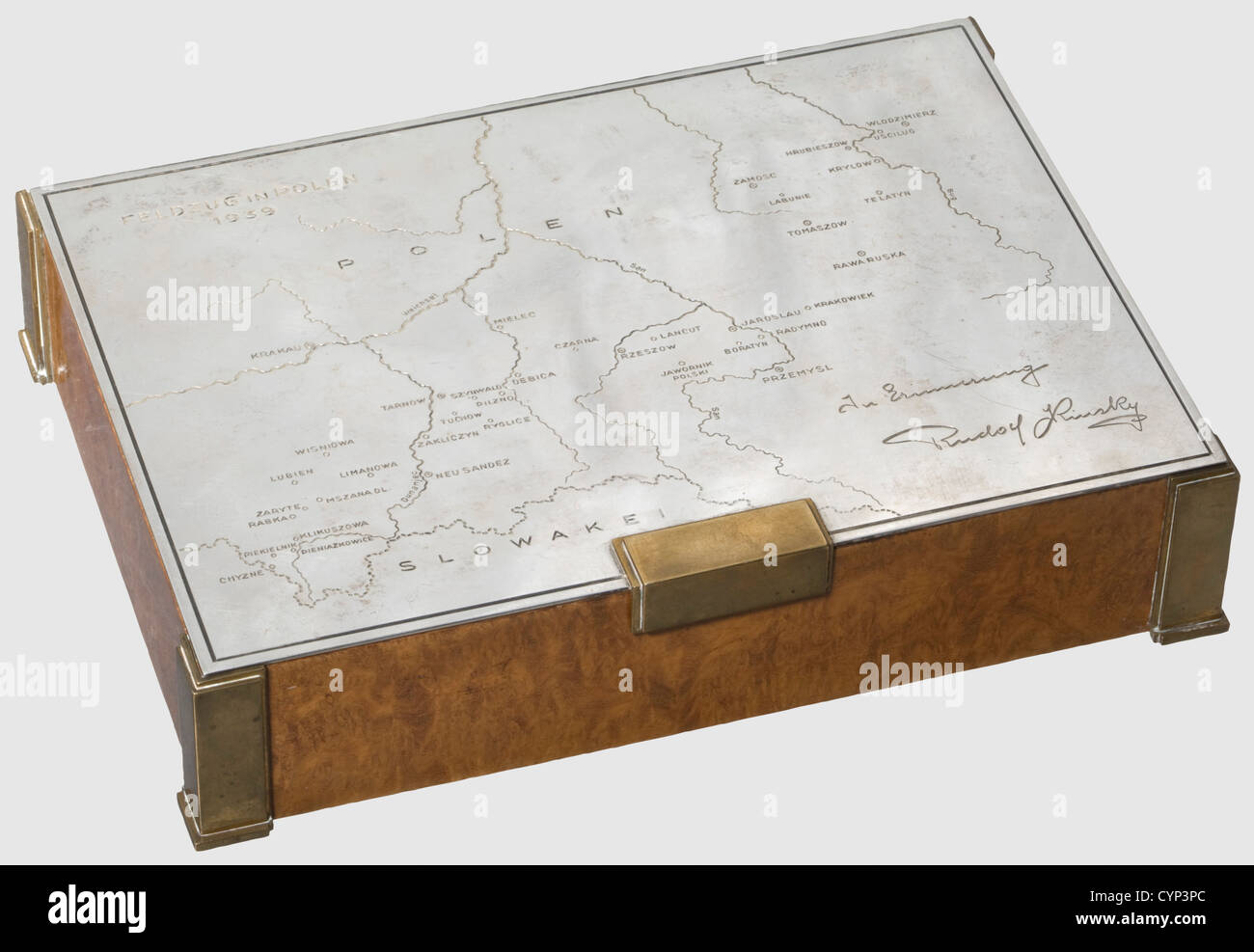 A silver presentation cigarette box for the 1939 Polish campaign, 10th Mounted Rifles Regiment. Cedar with figured - Stock Image