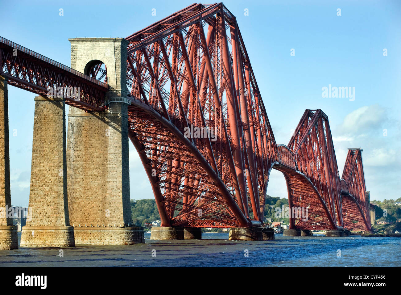 The Forth Railway Bridge pictured from the shore of the Firth of Forth at South Queensferry, Fife Scotland UK - Stock Image