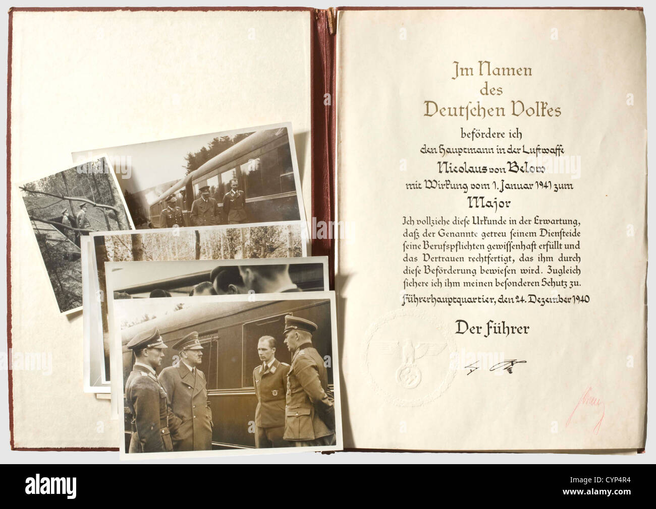 Oberst Nicolaus Freiherr von Below (1907 - 983) - a certificate of promotion to major, in a leather folder. Large, - Stock Image