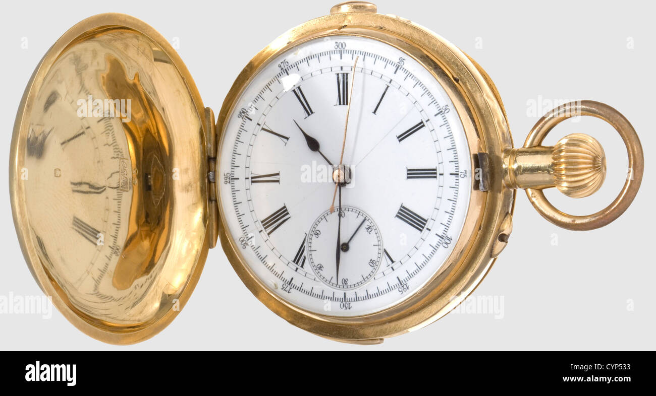 A pocket watch, presented to A. Hossein, Gold savonette with minute repetition and chronograph. The exterior of Stock Photo