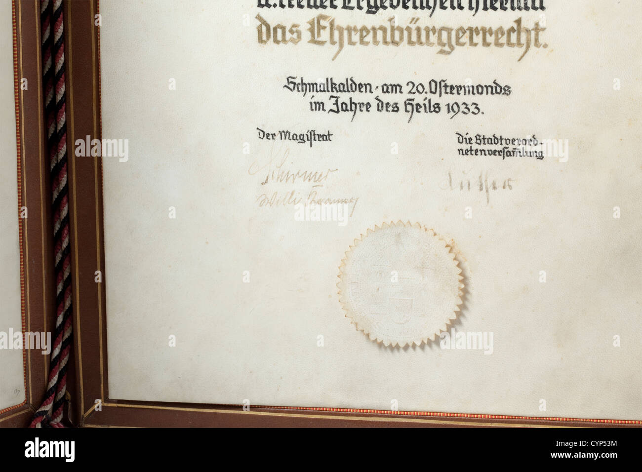 Adolf Hitler An Honorary Citizenship Award From The City Of Stock