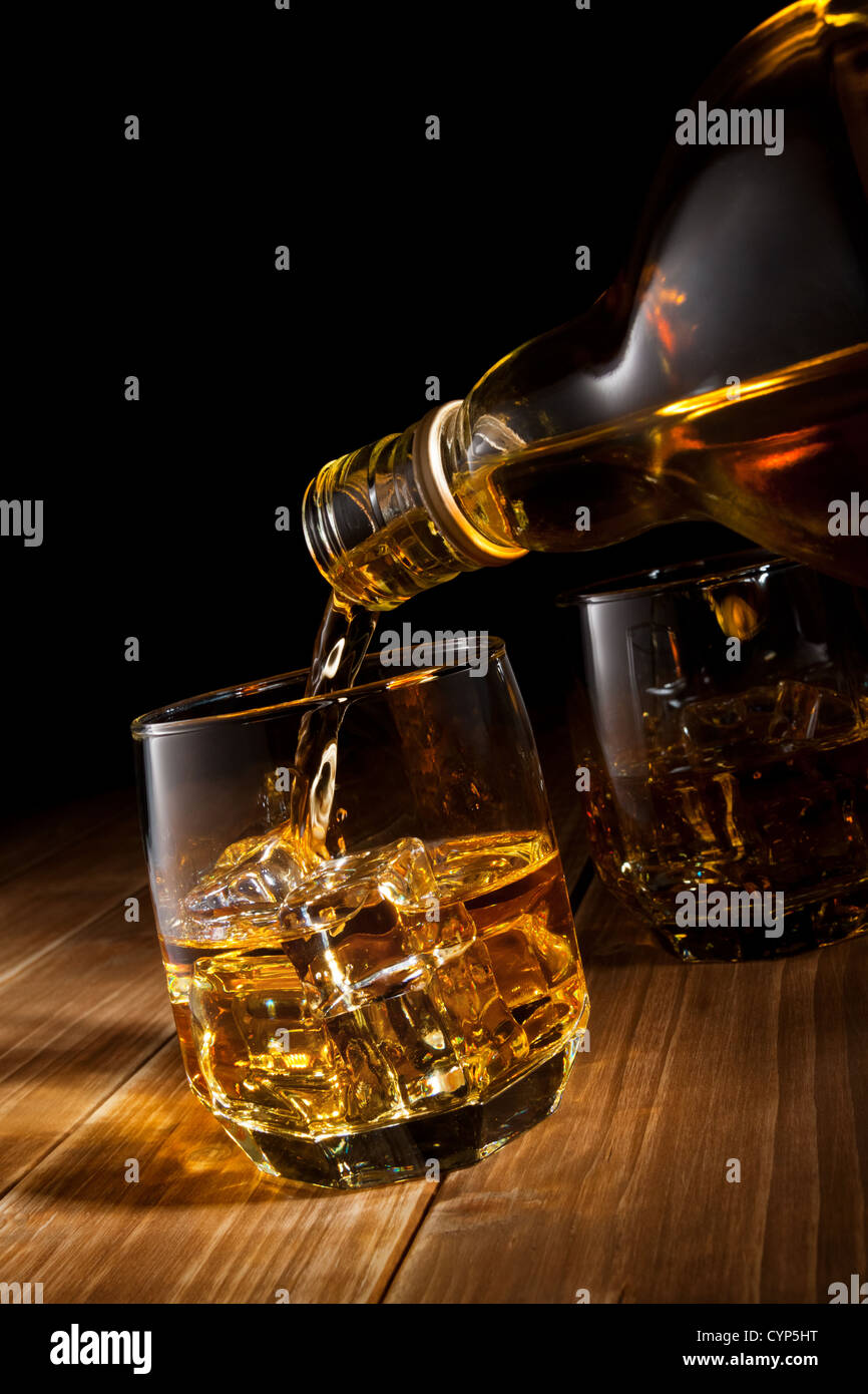 Whiskey on the rocks. - Stock Image