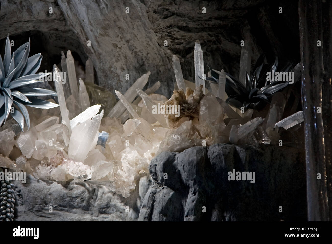 Underground cave with various crystel formations - Stock Image