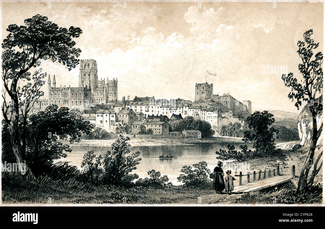 A lithograph of Durham scanned at high resolution from a book published in 1846. HGPA4J is a black & white version - Stock Image