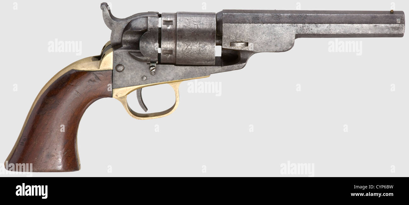 A Colt mod. 1862 Pocket Navy Conversion, The 4 1/2 Octagon Barrel Model, cal..38 RF, no. 187. Matching numbers. - Stock Image