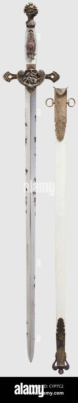 A vestment sword of the Royal Bavarian House Order of St. George, Double edged, smooth blade with central ridge. - Stock Image