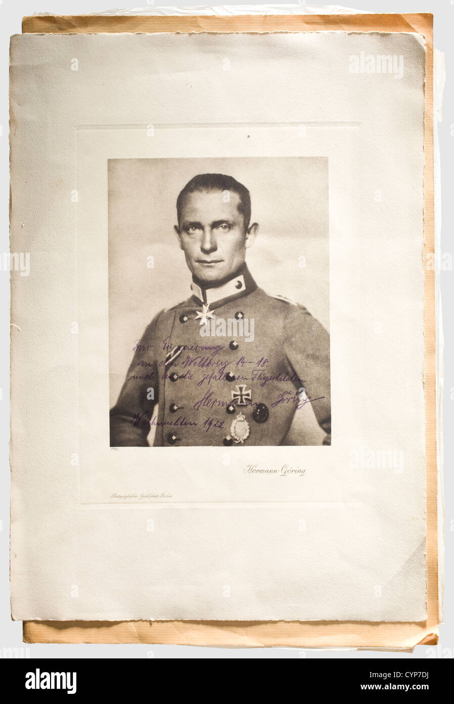 Friedrich Christiansen, the most successful naval aviator in World War I, large-sized dedication photograph of Hermann - Stock Image