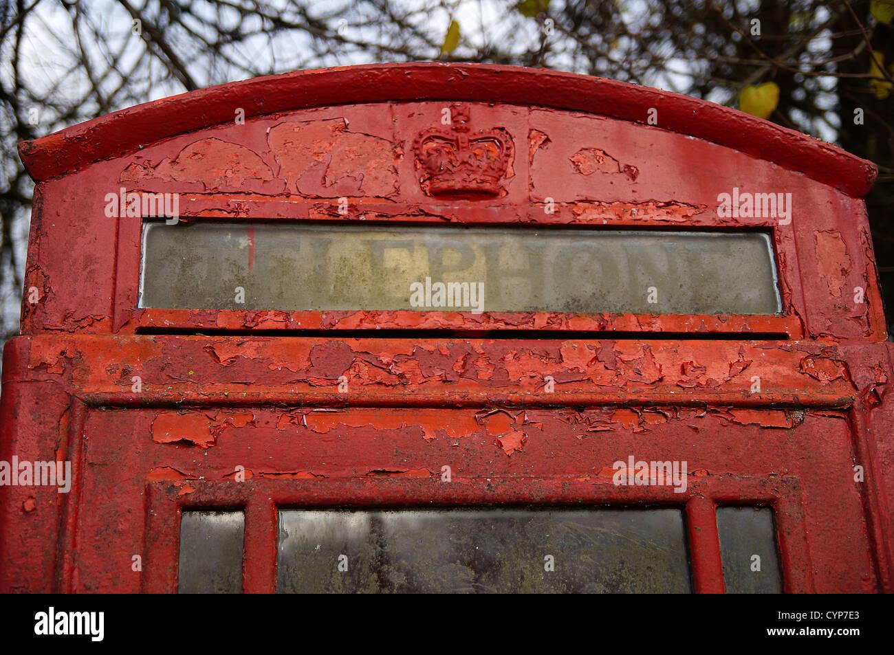 British telephone box, Hampshire, UK. - Stock Image