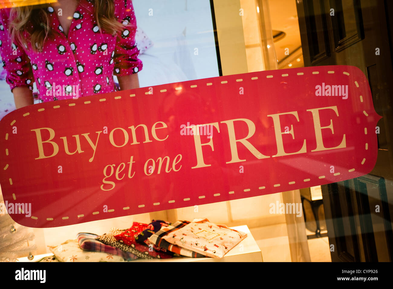 Bogof Buy one Get one Free Signs at Boux Avenue Boutique in Trafford