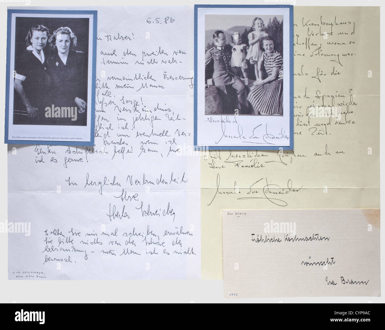 Eva Braun - a Christmas postcard 1942, Handwritten in ink 'Merry Christmas from Eva Braun' (transl.), the - Stock Image