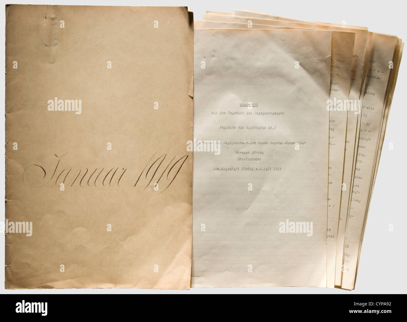 Oberleutenant Hermann Göring - 'Copy from the Diary of the Fighter Squadron Freiherr von Richthofen No. - Stock Image