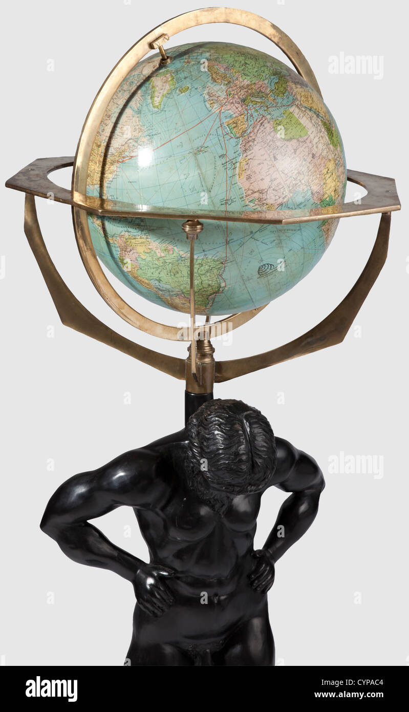 Hermann Goering - a sculpture of Atlas with the globe from the room 'Rominten' in Carinhall, The figure - Stock Image