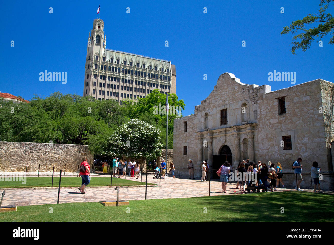 The chapel of the Alamo Mission located in downtown San Antonio, Texas, USA. - Stock Image