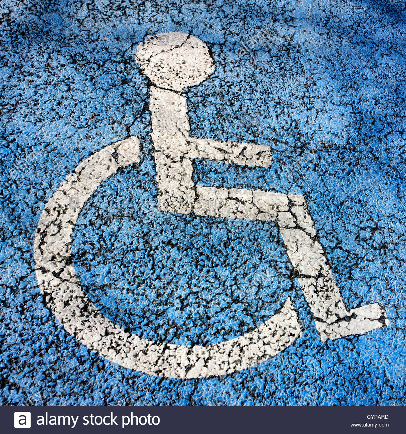 Weathered pictogram, wheelchair accessible - Stock Image