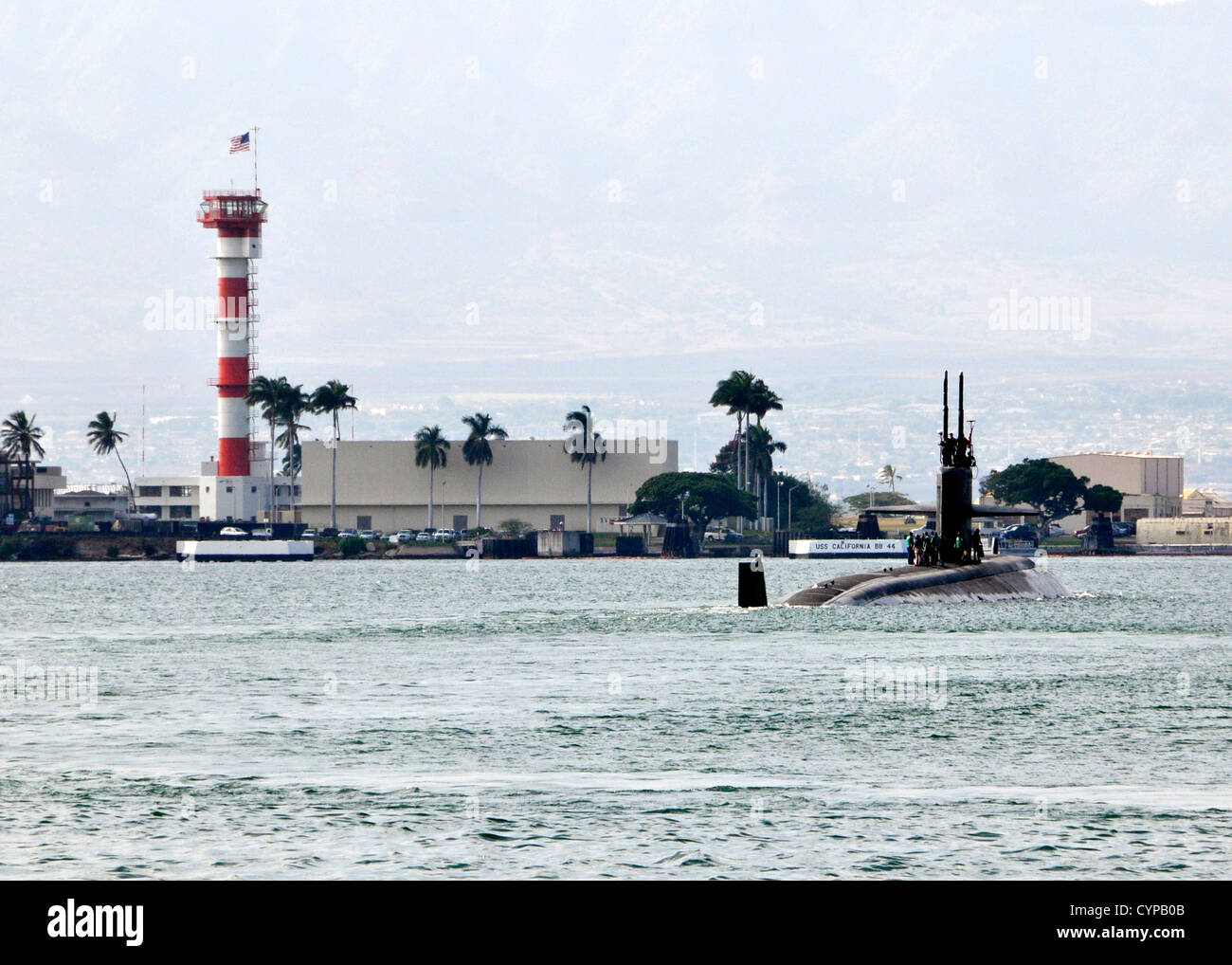PEARL HARBOR (Nov. 5, 2012) The Los Angeles-class fast attack submarine USS Jacksonville (SSN 699) departs Joint - Stock Image