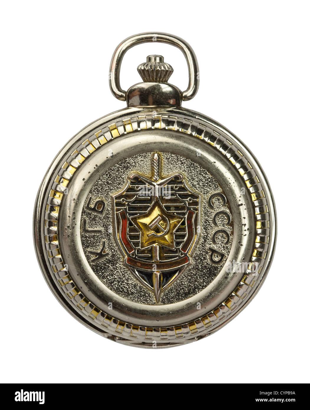 Russian USSR KGB secret police old pocket watch, clock - Stock Image