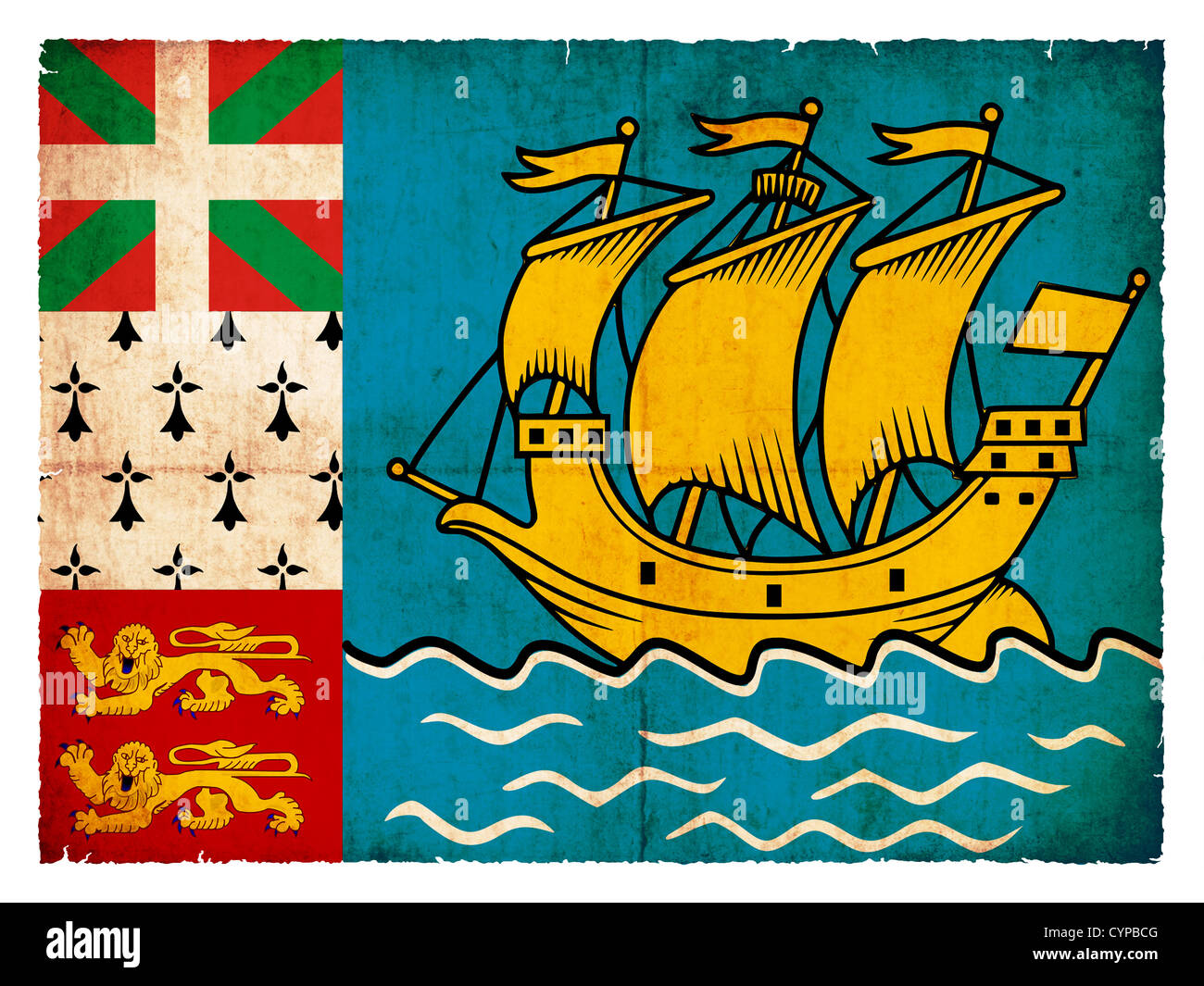 Flag of Saint-Pierre and Miquelon (Canadian Territory) created in grunge style - Stock Image