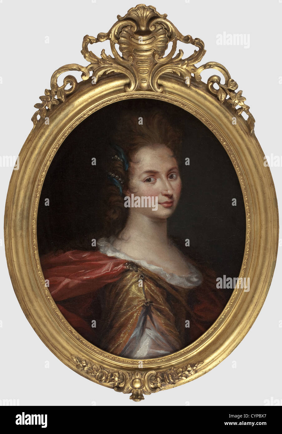 A baroque portrait of a noble lady, probably France, 1st half of the 18th century Oil on canvas (relined), not signed, - Stock Image