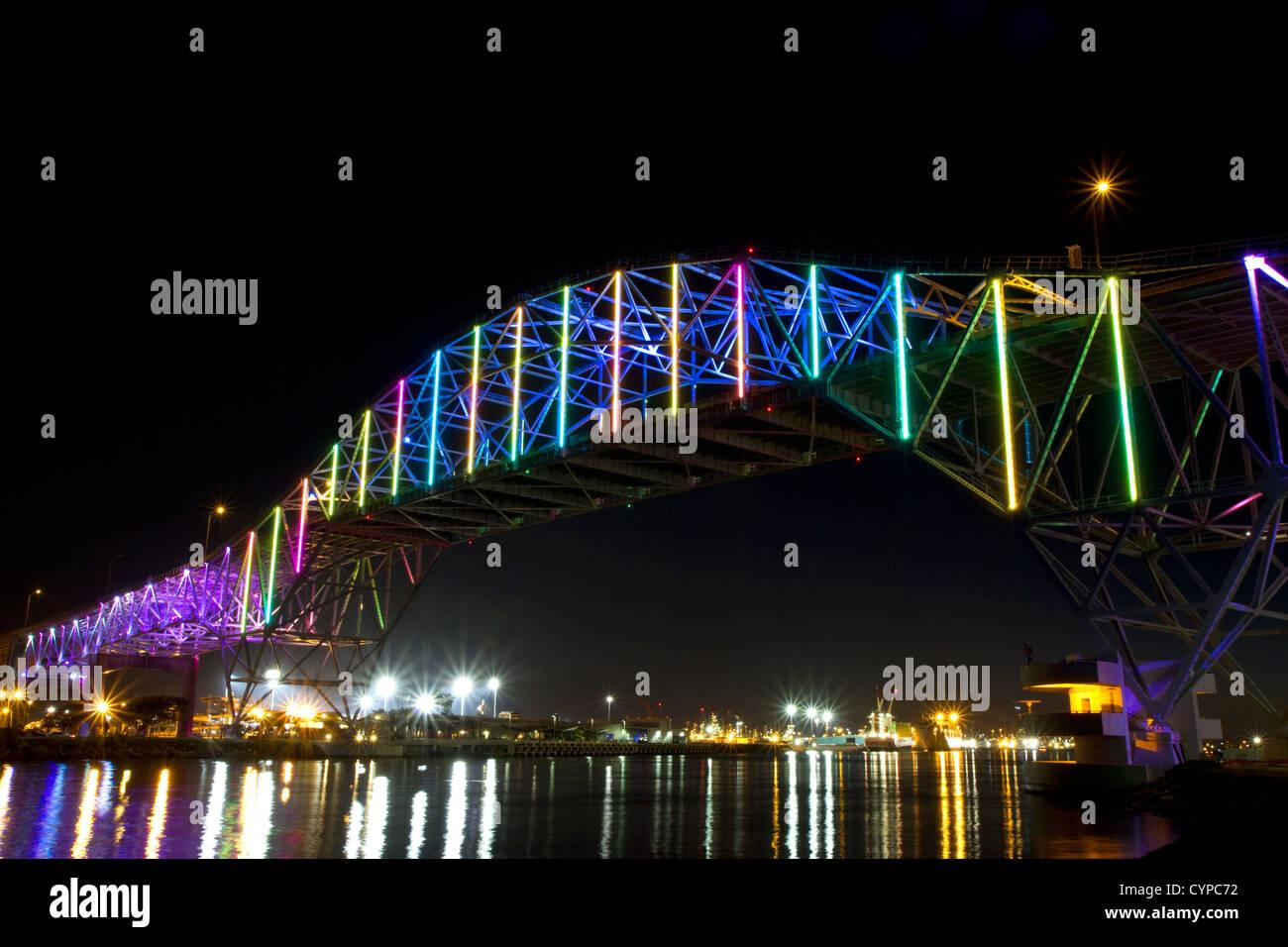 LED lights on the Corpus Christi Harbor Bridge located in Corpus Christi, Texas, USA. - Stock Image