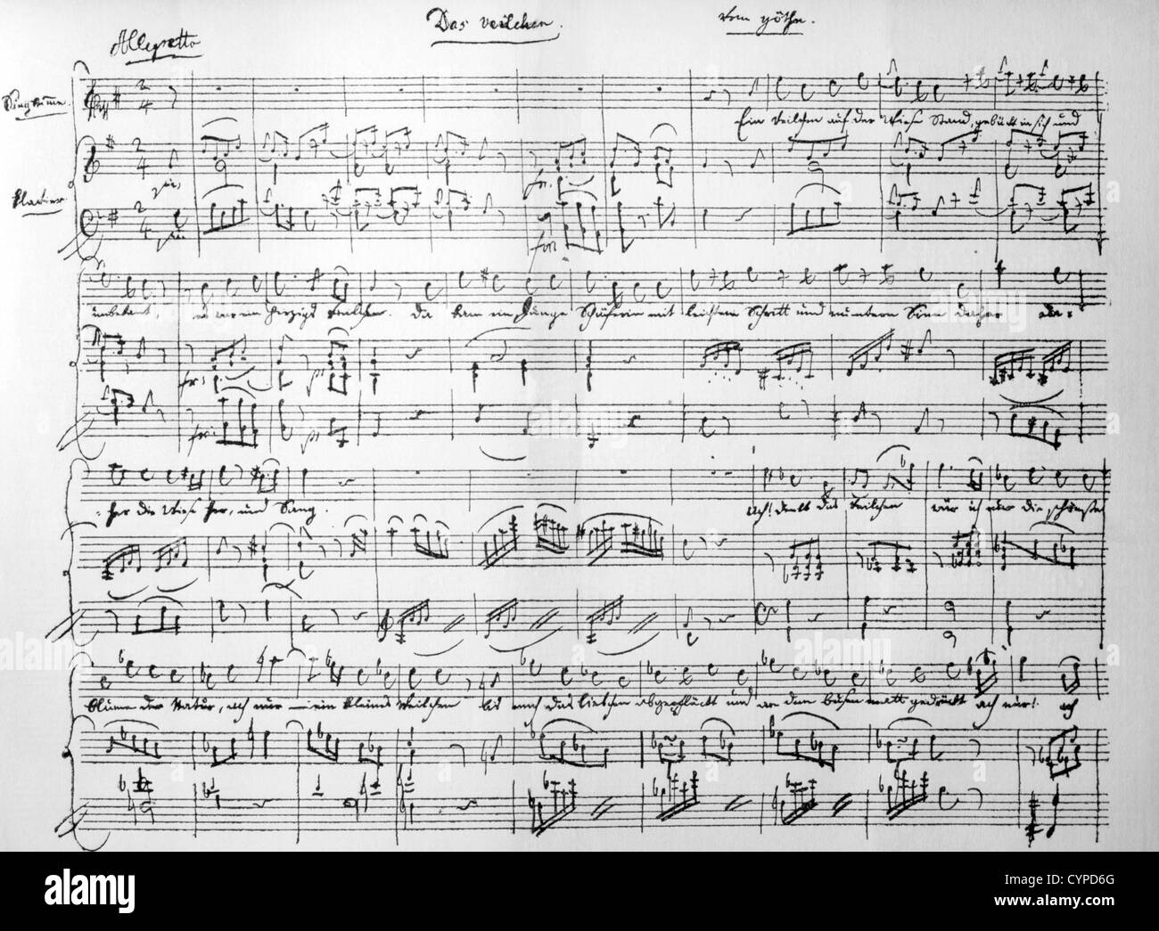 Musical Manuscript by Wolfgang Amadeus Mozart, Music for Goethe's The  Violet Stock Photo - Alamy