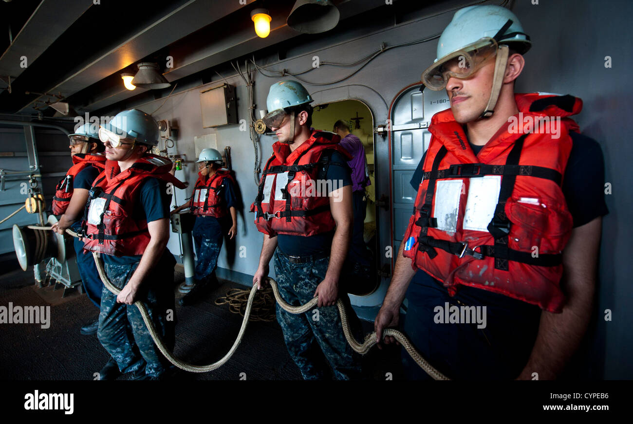 ARABIAN SEA (November 08, 2012) Sailors man a messenger line in fueling station 11 aboard the aircraft carrier USS - Stock Image