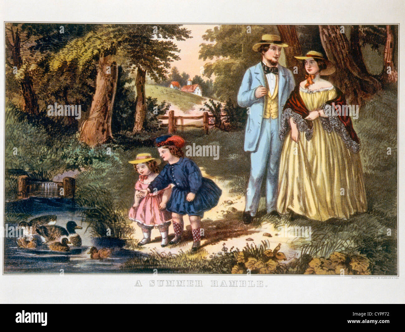 Summer Ramble, Currier & Ives, Lithograph - Stock Image