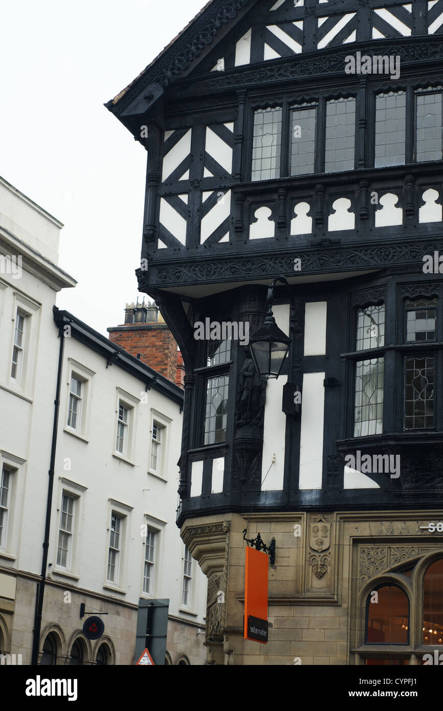 Half timbered Tudor style frontages on Grosvenor Street Chester - Stock Image
