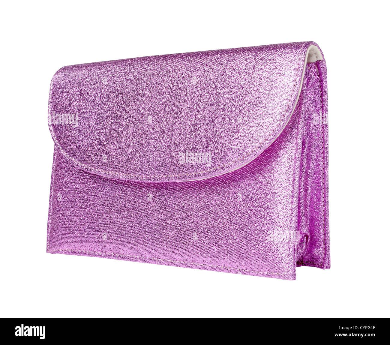 Pink glitter purse - Stock Image