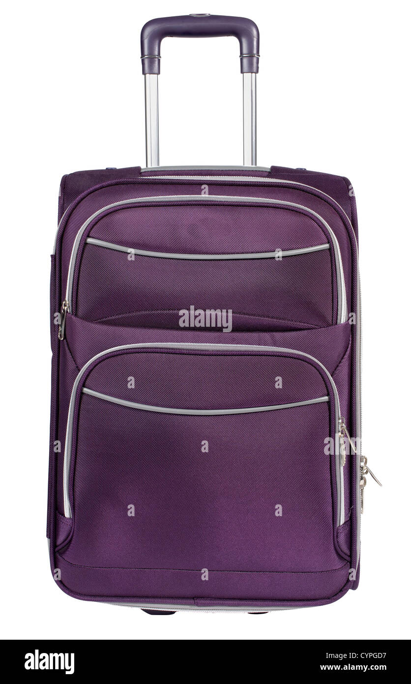 Purple carry on suitcase front - Stock Image