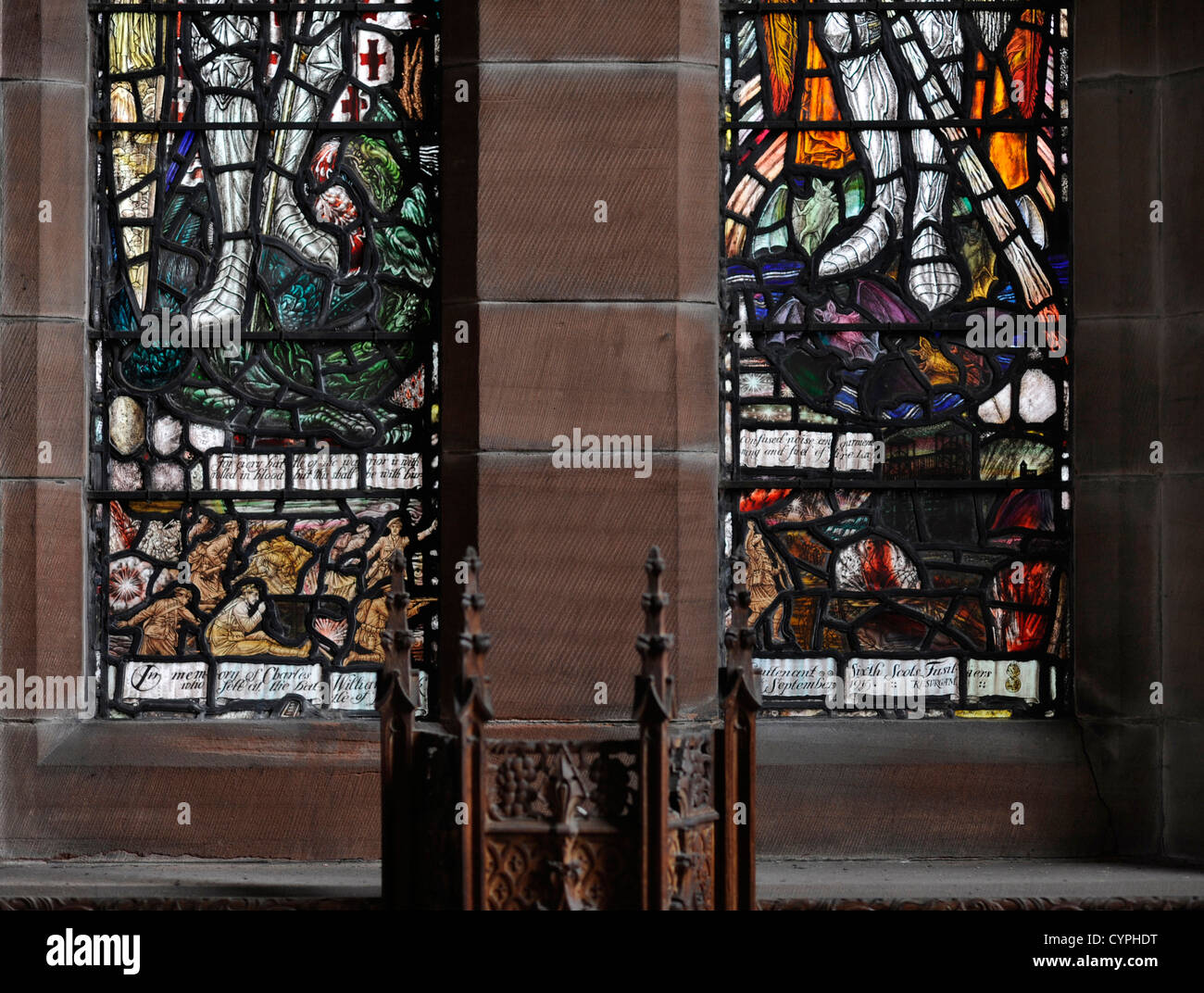 Memorial window, All Saints Church, Glasgow, to Sec Lt Charles Peck, Sixth Royal Scots Fusiliers who died at Loos, Stock Photo