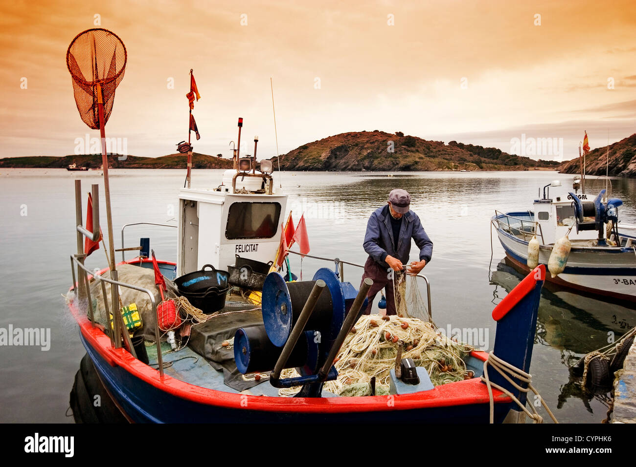 Fishing boats sunrise Port Lligat Cadaques Costa Brava Girona Catalonia Spain barcas de pescadores amanecer port - Stock Image
