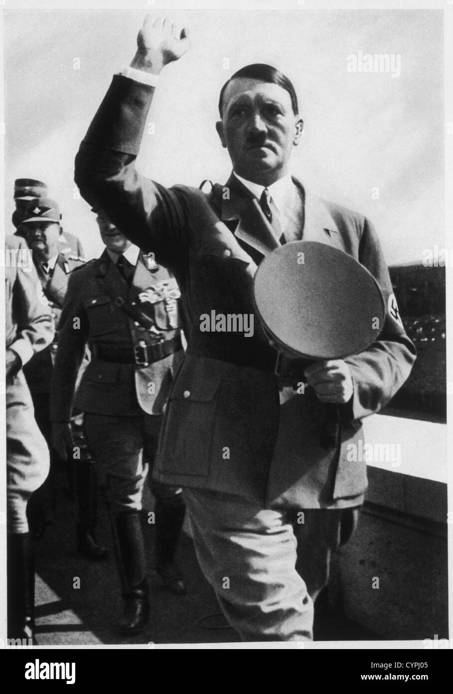 Adolf Hitler at Zeppelin Field During the Reichsparteitag, Nuremberg, Germany, 1935 - Stock Image
