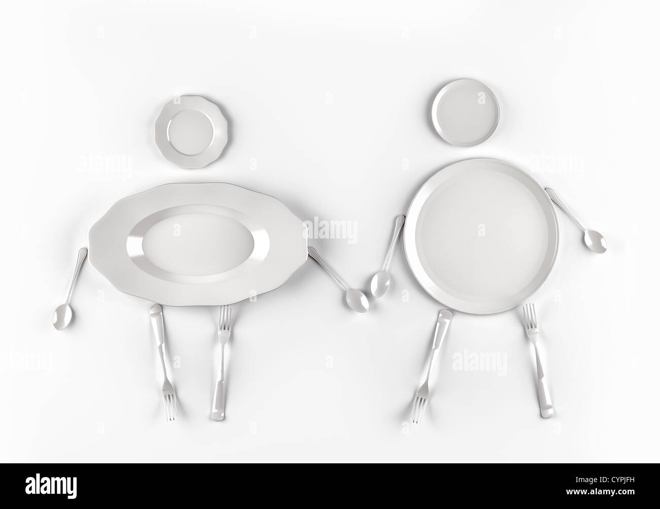 figures of men and women,  stylized by dishes on a white background - Stock Image