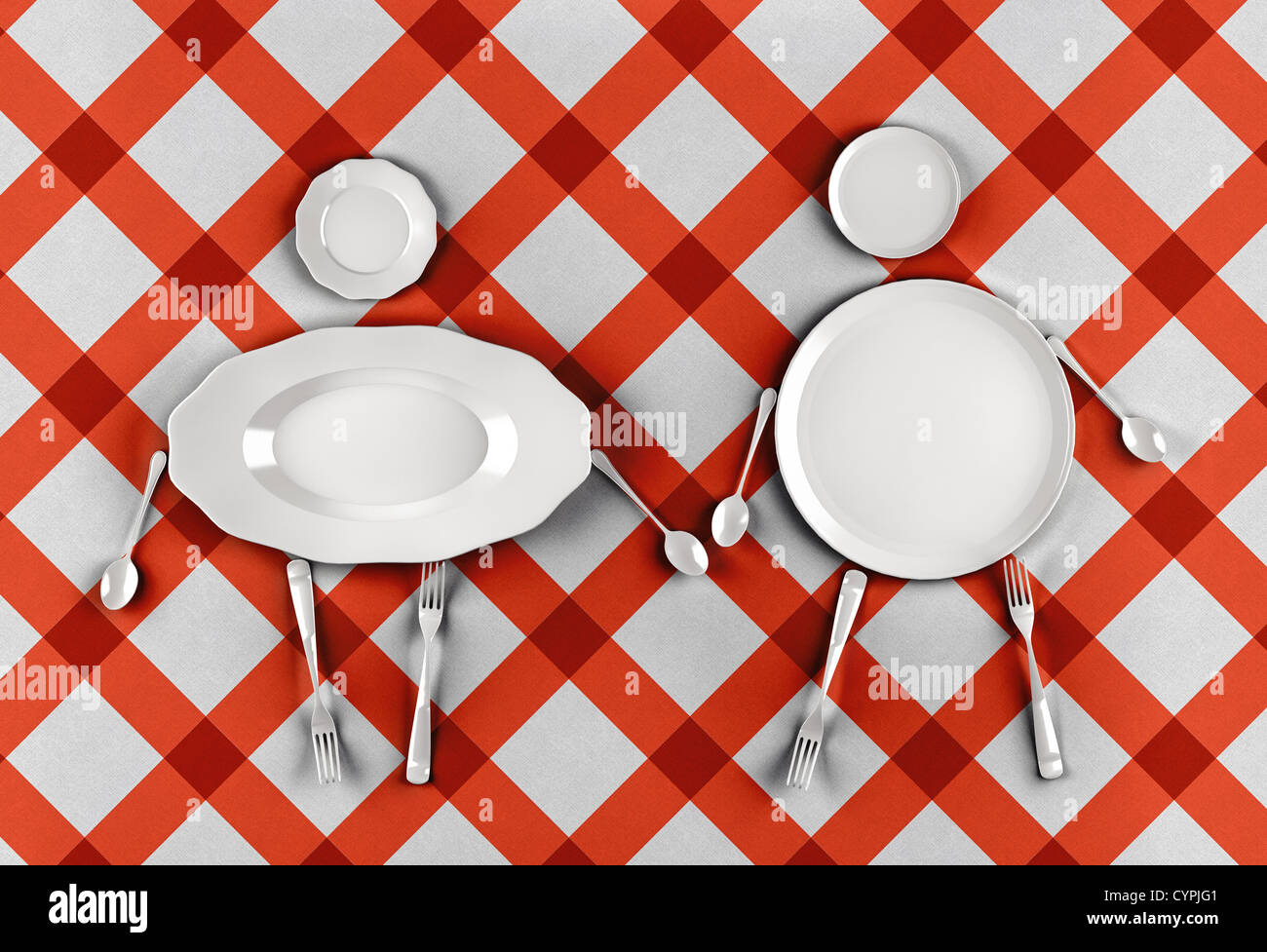 figures of men and women,  stylized by dishes on a pattern background - Stock Image
