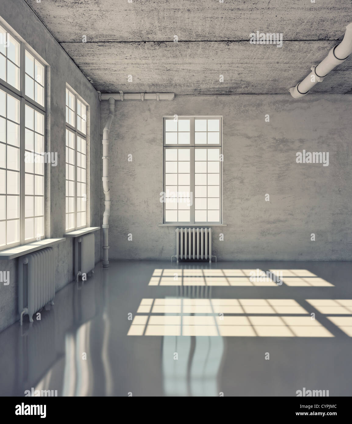 empty room with windows (loft concept) - Stock Image