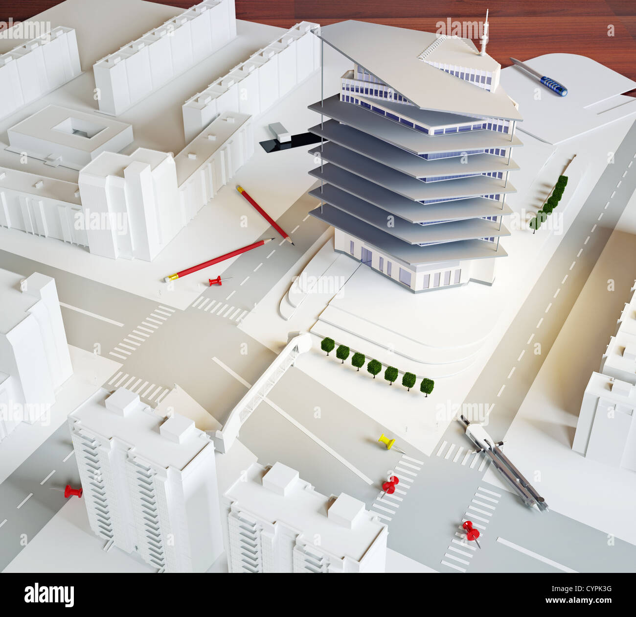 architectural model of a modern building (illustration) - Stock Image